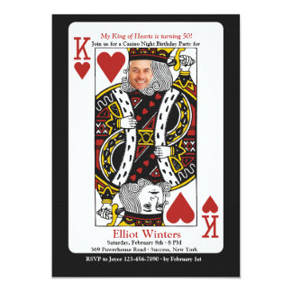 King of Hearts Casino Night Photo Invitation
