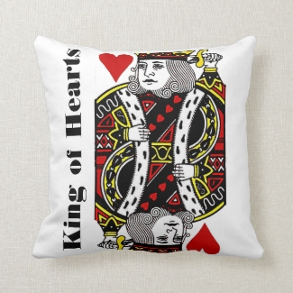 King of Hearts Design Throw Pillow