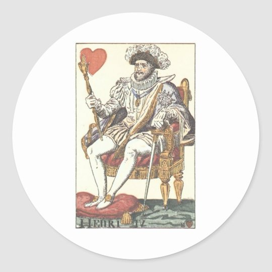 KING OF HEARTS - HENRI IV Vintage Print Playing Ca Classic Round Sticker