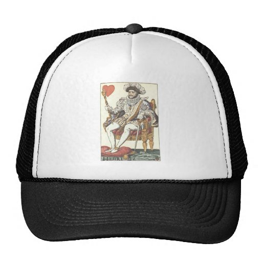 KING OF HEARTS - HENRI IV Vintage Print Playing Ca Hat