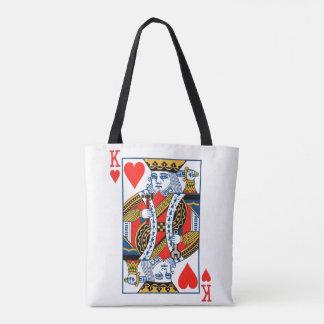 King of hearts playing card tote bag