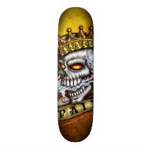 skate, skull, king, crown, head, face, rich, royalty, skelleton, evil, gothic, Skateboard with custom graphic design
