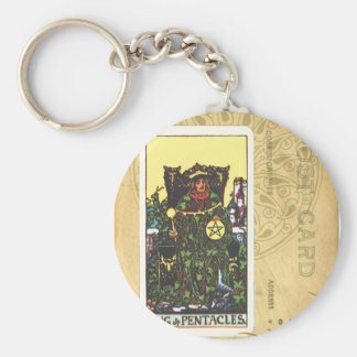 King Of Pentacles Tarot Card Postcard Keychain