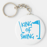 King of SWING! golf ball and golf club Basic Round Button Keychain
