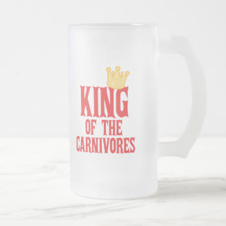 King of the Carnivores 16 Oz Frosted Glass Beer Mug