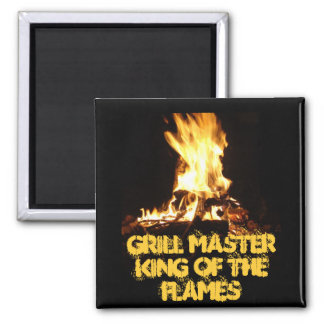 King of the Flames 2 Inch Square Magnet