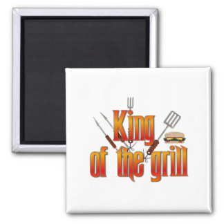King of the Grill 2 Inch Square Magnet