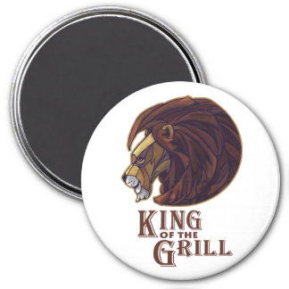 King of the Grill 3 Inch Round Magnet