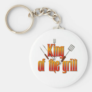 King of the Grill Basic Round Button Keychain