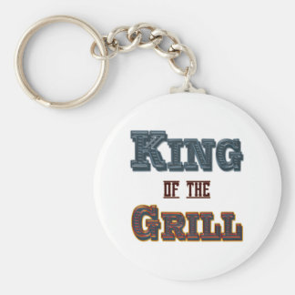 King of the Grill BBQ Cooking Slogan Basic Round Button Keychain
