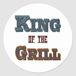 King of the Grill BBQ Cooking Slogan Classic Round Sticker