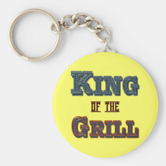King of the Grill BBQ Cooking Slogan Keychain