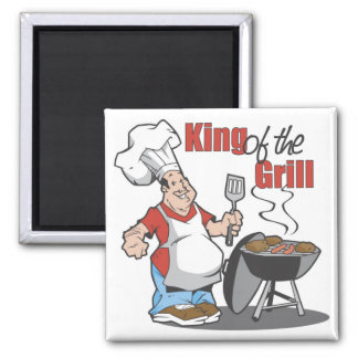 King Of The Grill BBQ Gift 2 Inch Square Magnet