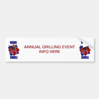 King of the Grill Cookouts Picnics Bumper Sticker
