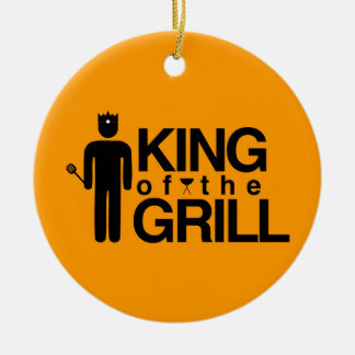 King of the Grill Double-Sided Ceramic Round Christmas Ornament