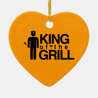 King of the Grill Double-Sided Heart Ceramic Christmas Ornament