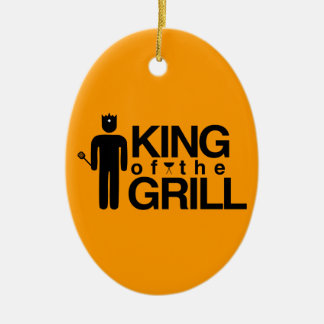 King of the Grill Double-Sided Oval Ceramic Christmas Ornament