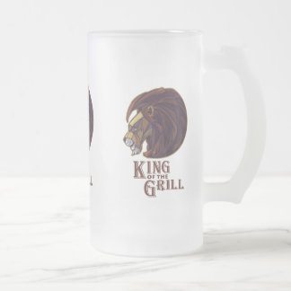 King of the Grill Frosted Glass Beer Mug