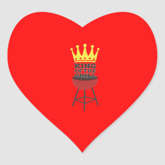 King of the grill heart sticker