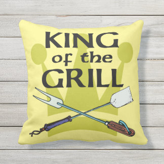 King of the Grill Outdoor Pillow
