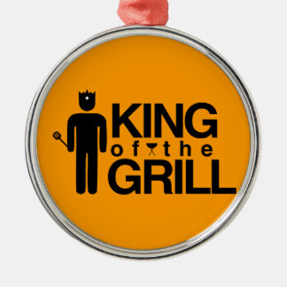 King of the Grill Round Metal Christmas Ornament