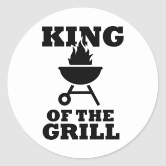 King of the grill round stickers