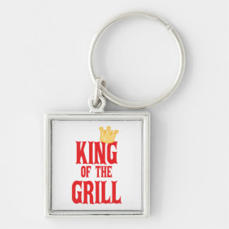 King of the Grill Silver-Colored Square Keychain