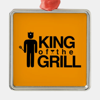 King of the Grill Square Metal Christmas Ornament