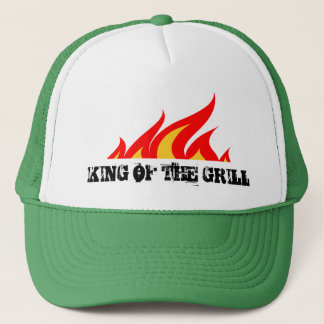 King of the grill trucker hat with burning flames