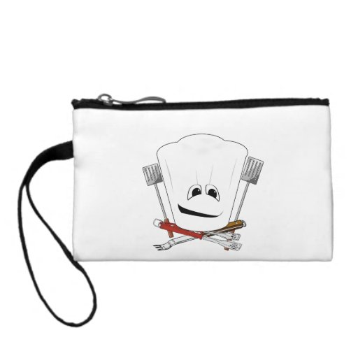 King of the Grill with Chef Hat and BBQ Tools Coin Purse
