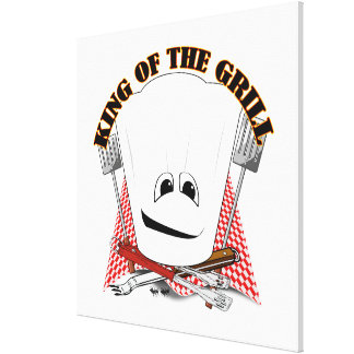 King of the Grill with Chef Hat and BBQ Tools Gallery Wrapped Canvas