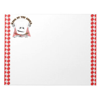 King of the Grill with Chef Hat and BBQ Tools Note Pad