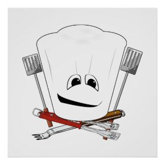 King of the Grill with Chef Hat and BBQ Tools Poster
