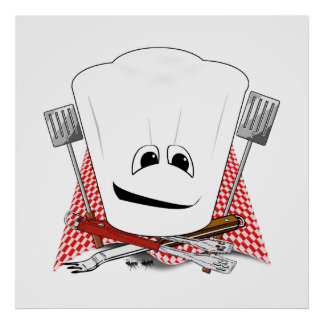 King of the Grill with Chef Hat and BBQ Tools Print