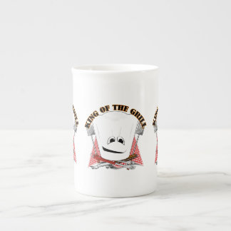 King of the Grill with Chef Hat and BBQ Tools Porcelain Mugs