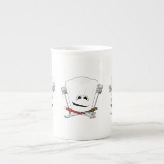 King of the Grill with Chef Hat and BBQ Tools Bone China Mugs