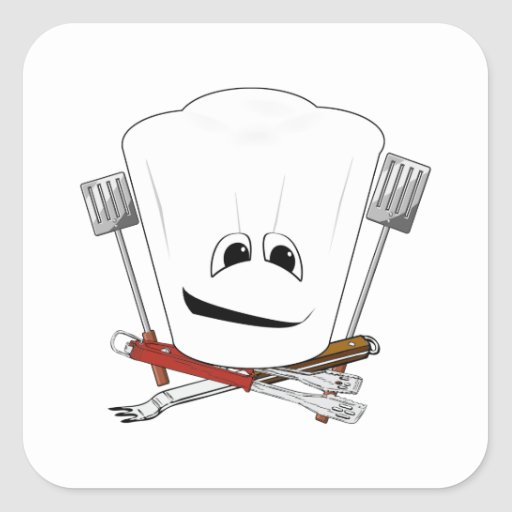 King of the Grill with Chef Hat and BBQ Tools Square Sticker