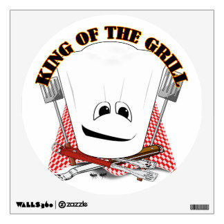 King of the Grill with Chef Hat and BBQ Tools Room Sticker