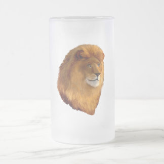 King of the Jungle Frosted Glass Beer Mug
