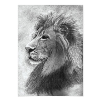 King of the Jungle, Hand drawn Lion in Graphite Card