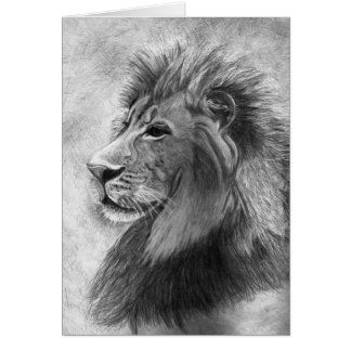 King of the Jungle, Hand drawn Lion in Graphite Greeting Card