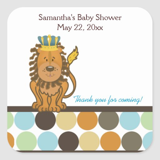 King of the Jungle SQUARE Favor Sticker