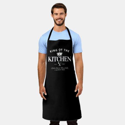King of the Kitchen Crown Foodie Dad Men Black Apron