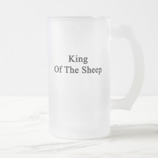 King Of The Sheep Frosted Glass Beer Mug