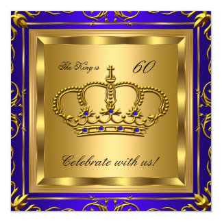 King or Queen Royal Blue Gold Birthday Party 2 Card