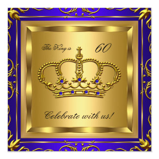 King or Queen Royal Blue Gold Birthday Party 2 5.25x5.25 Square Paper Invitation Card