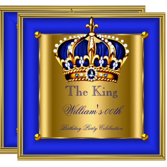 king or queen royal blue gold crown birthday party card