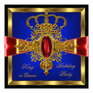 King or Queen Royal Blue Red Birthday Party Card