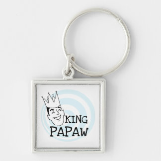 King Papaw T-shirts and Gifts Silver-Colored Square Keychain