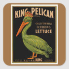 King Pelican Brand Lettuce Square Sticker